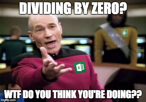 #DIV/0! is an error that is pretty easy to diagnose, it comes up whenever you try to divide any number by 0. Of course, as we learned in grade school, this is impossible. Its Excel's polite way of saying…