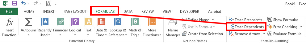 """If you go to your Formulas tab in ribbon you'll see a button that says """"Trace Dependant"""". Select this option and Excel will point out whatever is being affected by the cell you have highlighted."""