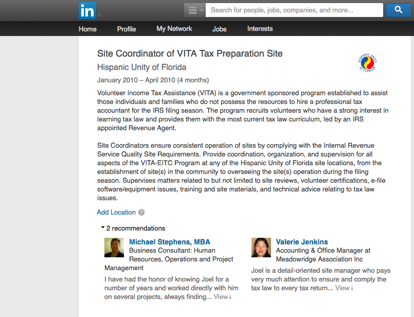 Excel Linkedin Recommendations