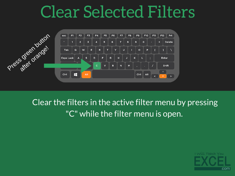 Excel Clear Selected Filters