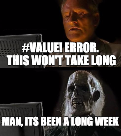 Excel Value Error Meme