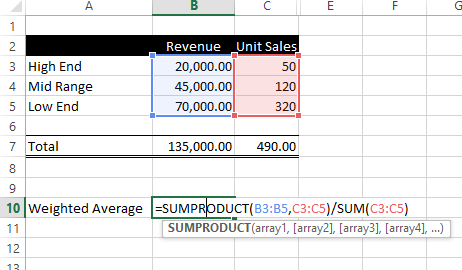 Excel Weighted Average